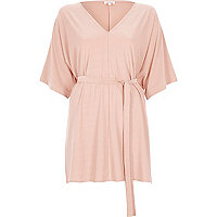 Light pink kimono belted top