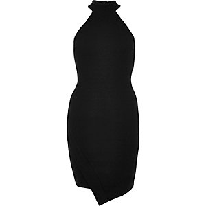 Black high neck asymmetric bodycon dress