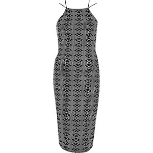 Black jacquard bodycon strappy dress
