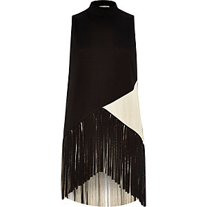 Black fringed high neck sleeveless top