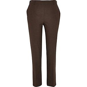 Brown micro check smart cigarette trousers