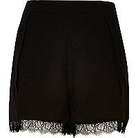Black lace hem shorts