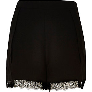 Black lace hem shorts