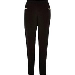 Black soft crepe tapered trousers