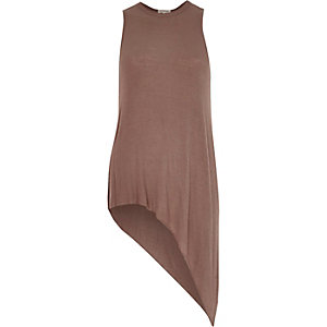 Brown asymmetric tank top