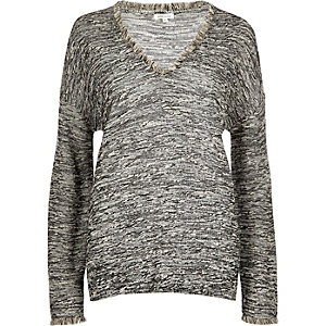 Grey marl fringed boucle top