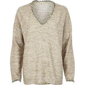 Cream marl fringed boucle top
