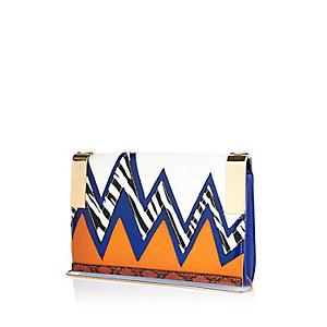 Orange zig zag pattern clutch handbag