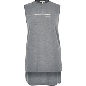 Grey slogan print tank top