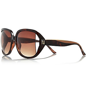 Brown oversized cut-out sunglasses