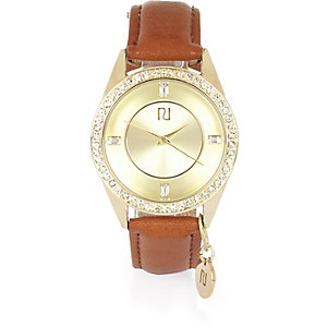 Gold tone embellished charm watch