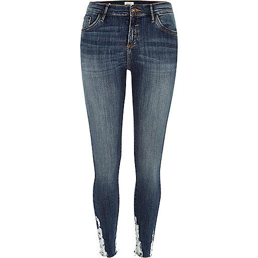 Dark wash distressed Amelie superskinny jeans
