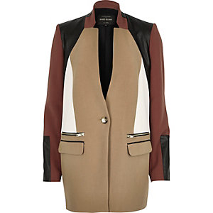 Beige smart colour block coat