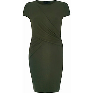 Khaki ruched wrap bodycon dress