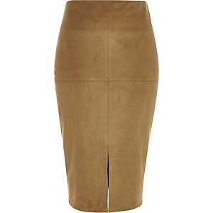 Tan brown faux-suede split front pencil skirt