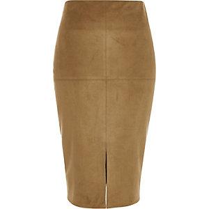 Tan brown faux-suede split front pencil skirt