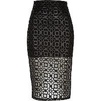 Black laser cut mesh pencil skirt