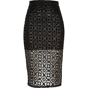 Black laser cut mesh pencil skirt