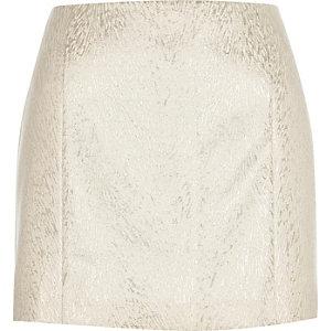 Cream jacquard pelmet mini skirt
