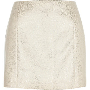 Cream jacquard pelmet mini skirt