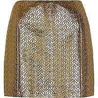 Gold metallic pelmet mini skirt