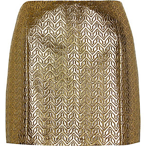 Gold metallic pelmet mini skirt