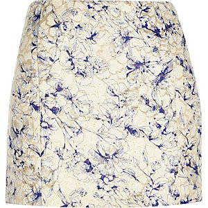 Gold floral jacquard pelmet mini skirt