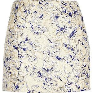 Gold floral jacquard pelmet mini skirt