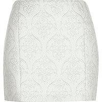 Silver jacquard pelmet mini skirt
