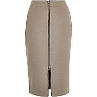 Brown zip front pencil skirt