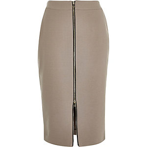 Brown zip front pencil skirt