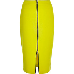 Lime green zip front pencil skirt