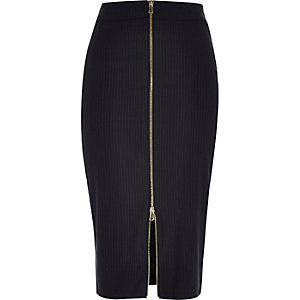 Navy pin stripe zip front pencil skirt