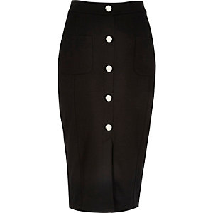 Black jersey button pencil skirt