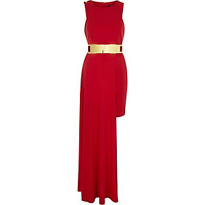 Red belted high low hem dress