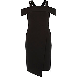 Black crepe wrap skirt D-ring dress