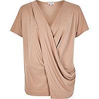 Pink drape front t-shirt