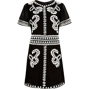 Black cornelli trim skater dress