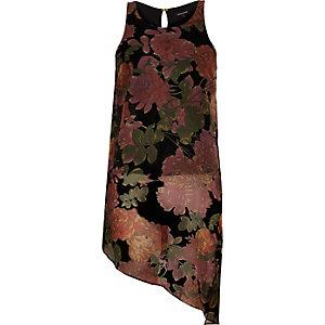Red floral print asymmetric vest