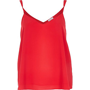 Red V-neck cami top