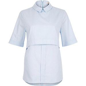 Blue chambray layered shell shirt