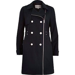 Navy smart zip-up mac coat