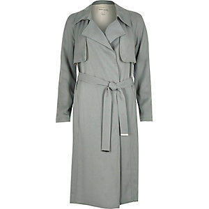 Blue-grey draped trench coat