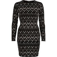Black sparkly zig zag bodycon dress