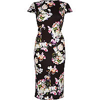 Black floral print bodycon dress