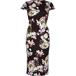 Black floral print bodycon dress