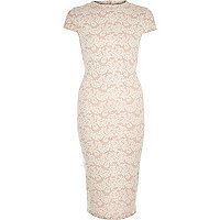 Pink jacquard pattern bodycon midi dress