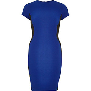 Bright blue textured bodycon dress