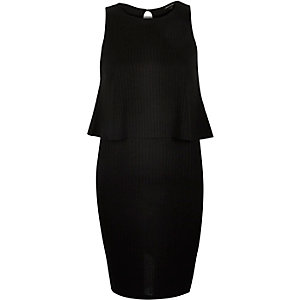 Black double layer sleeveless dress
