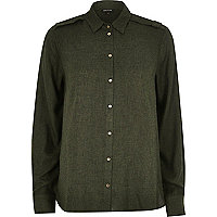 Khaki military epaulette shirt